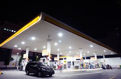 Shell gas station. Indonesia shell gas station at night stock photography