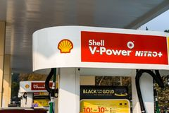 Shell gas station located in San Francisco bay area. November 10, 2018 Union City / CA / USA - Shell gas station located in San Francisco bay area royalty free stock image
