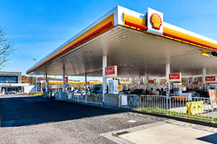 Shell gas station. Luxembourg - April 10, 2016: Shell gas station on the border of Luxembourg and France. The cheapest fuel in Central Europe. Shell is an Anglo royalty free stock image