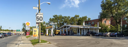 Shell gas station(Montreal). Shell is an integrated energy company that aims to meet the world's growing demand for energy in ways that are economically Royalty Free Stock Image