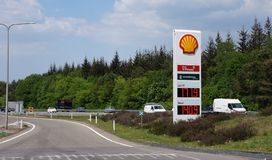 Shell gas station in the Netherlands. Radio Kootwijk, the Netherlands. May 2018. Entrance to a Shell gas station from the Dutch highway A1 stock image