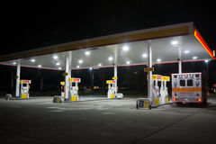 Shell Gas Station at Night. JACKSONVILLE, FL-OCTOBER 8, 2016: A Shell gas station at night in Jacksonville. According to Forbes, Royal Dutch Shell oil company is royalty free stock photo