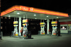 Shell Gas Station. At night on March 29, 2013 in downtown Toronto, Ontario, Canada. Shell Oil Company is the United States-based subsidiary of Royal Dutch Shell royalty free stock photography