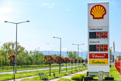 Shell Gas Station. Nowy Sacz, Poland - 15 May 2017: Sign of Royal Dutch Shell, which is one of the largest oil companies in the world stock photography