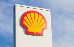 Shell gas station sign. BURG / GERMANY - NOVEMBER 13, 2016: Shell gas station sign. Shell is an Anglo-Dutch multinational oil and gas company headquartered in stock image
