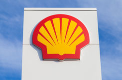 Shell gas station sign. BURG / GERMANY - NOVEMBER 13, 2016: Shell gas station sign. Shell is an Anglo-Dutch multinational oil and gas company headquartered in stock images