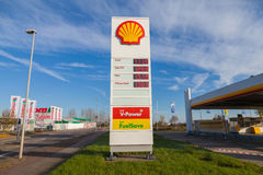 Shell gas station sign. BURG / GERMANY - NOVEMBER 13, 2016: Shell gas station sign. Shell is an Anglo-Dutch multinational oil and gas company headquartered in royalty free stock photos