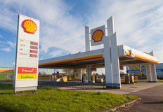 Shell gas station sign. BURG / GERMANY - NOVEMBER 13, 2016: Shell gas station sign. Shell is an Anglo-Dutch multinational oil and gas company headquartered in royalty free stock images