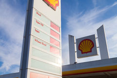 Shell gas station sign. BURG / GERMANY - NOVEMBER 13, 2016: Shell gas station sign. Shell is an Anglo-Dutch multinational oil and gas company headquartered in royalty free stock image