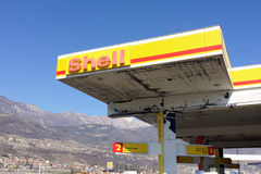 Shell gas station. Trentino, Italy: March 2015 - Shell gas station along highway Brennero A22 stock photo