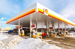 Shell gas station in winter day. Royal Dutch Shell is an Anglo-Dutch multinational oil and gas company stock images
