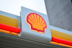 Shell Gasoline Station Logo in Kota Kinabalu, Malaysia Royalty Free Stock Photos