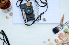 Shell-Glas und -kamera Stockfoto