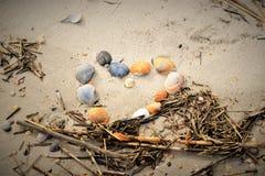 Shell Heart i sanden på stranden Fotografering för Bildbyråer