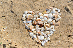 Shell Heart. A heart made of shells on a beach in France Stock Photo