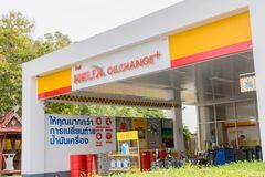 Shell Helix oil change plus ser vice which is autobobile service in Shell gas station in Hua Hin, Thailand October 11, 2016. The Shell Helix oil change plus ser royalty free stock images