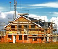 Shell of a house. In a construction area Royalty Free Stock Images