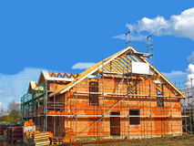 Shell of a house. In a construction area Stock Photos