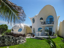 Shell House on Isla Mujeres. A home designed in the shape of sea shells on the Island of Isle Mujeres in Mexico royalty free stock photos