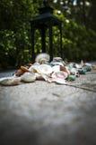 Shell-kaarsenhouder van de de kaarslamp van de laag de openluchtregeling Europese Stock Fotografie