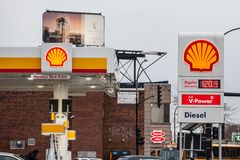 Shell logo in front of one of their gas stations in Canada. MONTREAL, CANADA - NOVEMBER 9, 2018: Shell is a British Dutch Petroleum production and sale stock image