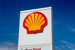 Shell logo on gas station. stock photos
