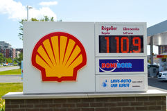 Shell logo on a gas station. Montreal, Canada - August 8, 2017: Shell logo on a gas station. Shell are a global group of energy and petrochemicals companies royalty free stock photo