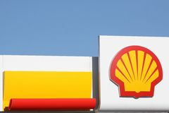 Shell logo on a gas station Stock Images