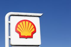 Shell logo on a gas station. Villefranche, France - September 30, 2015: Shell logo on a gas station. Shell is an Anglo-Dutch multinational oil and gas company royalty free stock photos