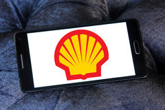 Shell logo. Logo of oil company shell on samsung mobile phone a5 Royalty Free Stock Photo