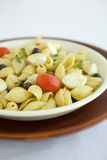 Shell Macaroni and chesse with tomato. Macarnoni Shells with Mozzarella cheese, tomato, black olives, in light olive oil.  A Healthy Pasta salad Royalty Free Stock Images