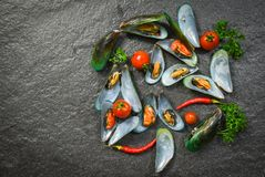 Shell Mussel cooking seafood plate with Shellfish green mussels ocean gourmet dinner cooked with herbs and spices. On dark stone background top view stock photo
