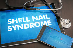 Shell nail syndrome (cutaneous disease) diagnosis medical concep. T on tablet screen with stethoscope Royalty Free Stock Image