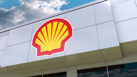 Shell Oil Company-Logo auf der modernen Gebäudefassade Redaktionelle Wiedergabe 3D Lizenzfreie Stockfotos
