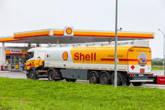 Shell Oil Truck at the gas station Shell Stock Image