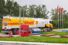 Shell Oil Truck at the gas station Shell. Royal Dutch Shell or S Stock Image