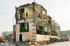 Shell of partially demolished building Royalty Free Stock Images