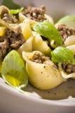 Shell pasta bolognese. Delicious dinner shell pasta bolognese Stock Photo