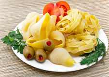 Shell pasta on a plate Royalty Free Stock Image