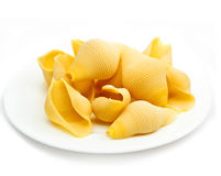 shell pasta on a plate.Close up Royalty Free Stock Image