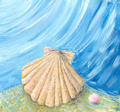 Shell & pearl. Acrylic illustration of Shell and pink pearl Royalty Free Stock Photo