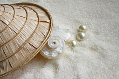 Shell and pearls royalty free stock image