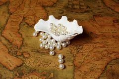 Shell with pearls Royalty Free Stock Image