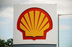 Shell petrol filling station. Signage outside a Shell petrol filling station at Ashford in Kent, England on June 17, 2008. Royal Dutch Shell reported a 90% Royalty Free Stock Photo