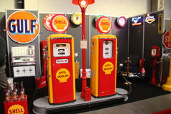 Shell Petrol Pumps. Anexebition of a Shell petrol pump stock images
