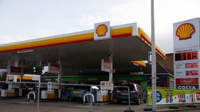Shell Petrol Station. Reading, United Kingdom - February 09 2019: The forecourt of the Shell Petrol Station on Shinfield Road, with Londis and Costa Coffee royalty free stock images