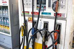 Shell petrol station. Sao Paulo, SP, Brazil. May 29, 2018. Fuel pump with gasoline, ethanol and diesel at a Shell flag station in the south zone of Sao Paulo stock photos