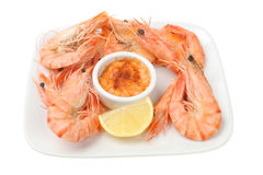 Shell on prawns with seafood sauce Stock Images