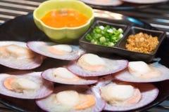Shell quente e ostra fervidos e cozinhados na placa Imagens de Stock