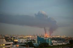 Shell refinery burning on Bukom Island royalty free stock photo